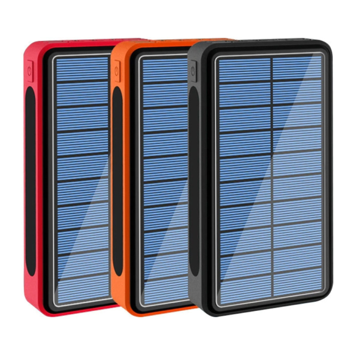 Stuff Certified® Qi Wireless Solar Power Bank with 4 Ports 80,000mAh - Built-in Flashlight - External Emergency Battery Charger Charger Orange