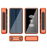 Stuff Certified® Qi Wireless Solar Power Bank with 4 Ports 80.000mAh - Built-in Flashlight - External Emergency Battery Charger Charger Sun Orange