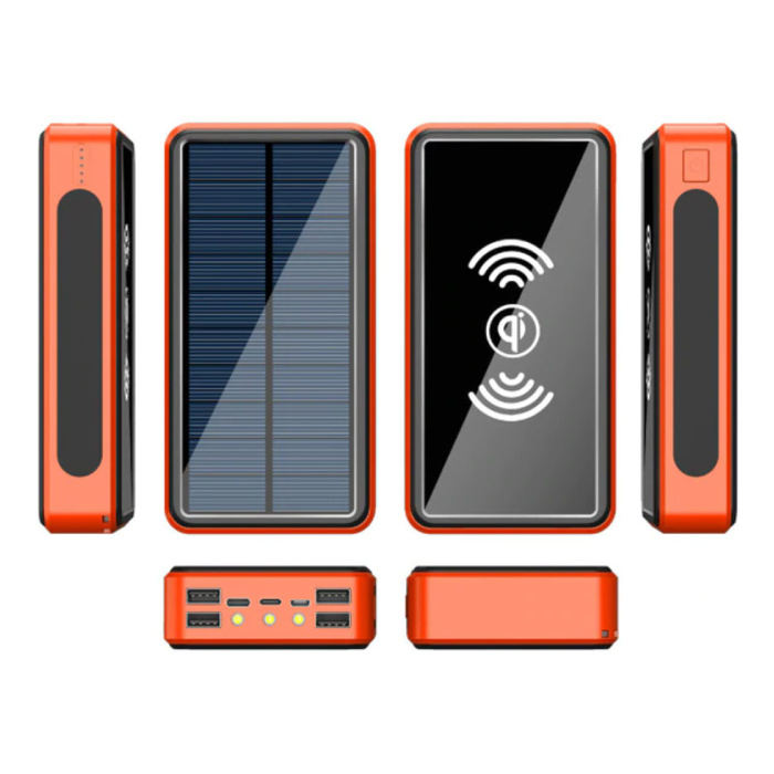 Banque d'alimentation solaire sans fil Qi avec 4 ports 80.000mAh - Lampe de poche intégrée - Chargeur de batterie d'urgence externe Sun Orange
