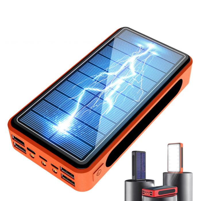 Stuff Certified® Banque d'énergie solaire sans fil Qi avec 4 ports 80,000mAh - Lampe de poche intégrée - Chargeur de batterie externe de secours orange
