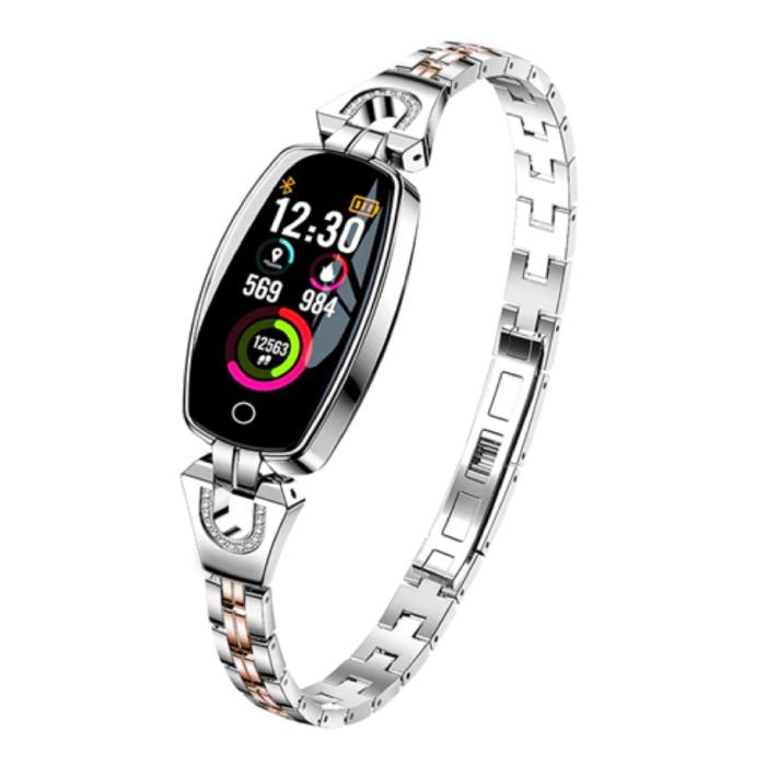Sport Smartband voor Vrouwen - Smartwatch Smartphone Fitness Activity Tracker Horloge iOS / Android Zilver
