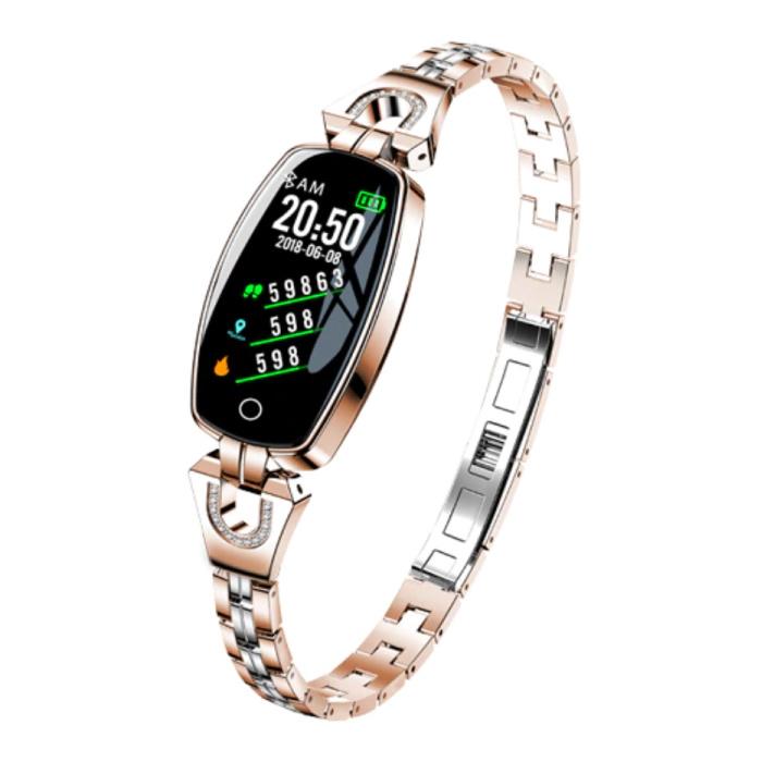 Sport Smartband voor Vrouwen - Smartwatch Smartphone Fitness Activity Tracker Horloge iOS / Android Goud
