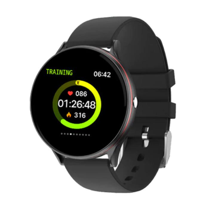 Rote Linie Smartwatch Smartband Smartphone Fitness Sport Aktivität Tracker Uhr IPS iOS Android iPhone Samsung Huawei Schwarz