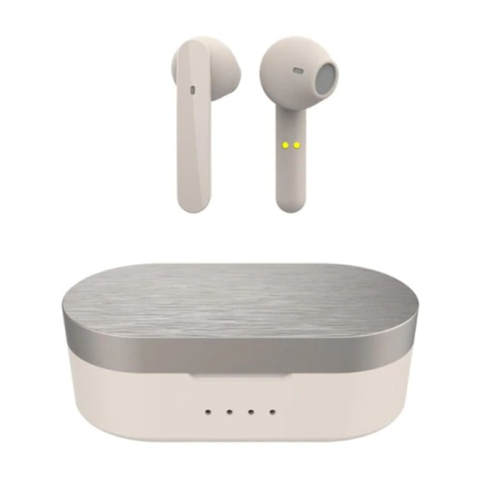 T12 Draadloze Oortjes - Smart Touch Control TWS Oordopjes Bluetooth 5.0  Wireless Buds Oortelefoon Beige