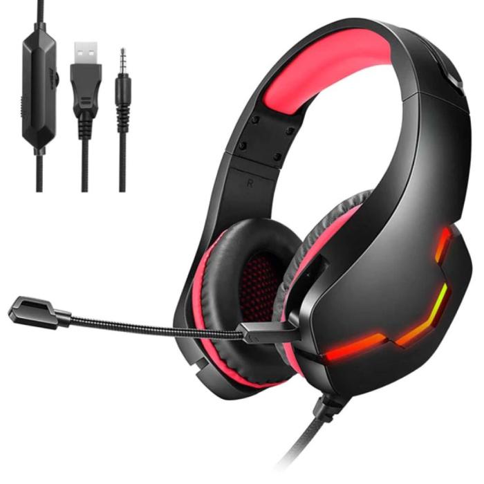 Stereo Gaming Koptelefoon voor Playstation 4 en 5 / Xbox / PC - Headset Headphones met Microfoon Rood