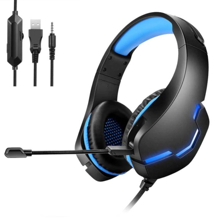 Casque de jeu stéréo pour Playstation 4 et 5 / Xbox / PC - Casque avec microphone bleu