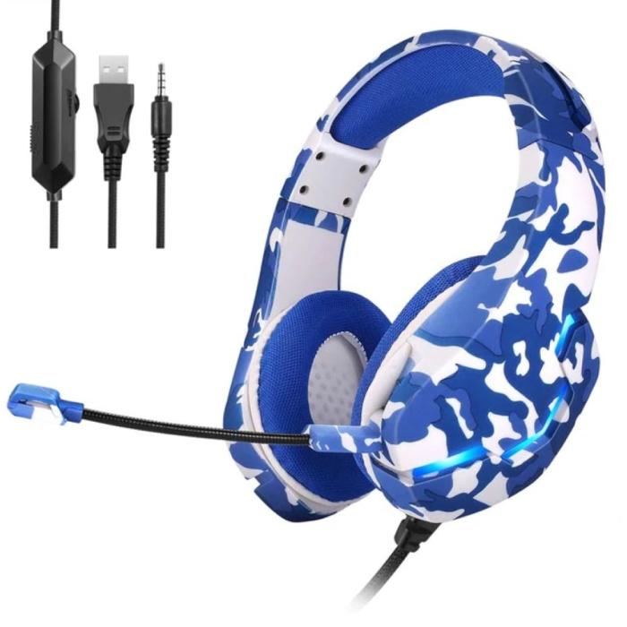 Yulass Casque de jeu stéréo pour Playstation 4 et 5 - Casque avec microphone camouflage