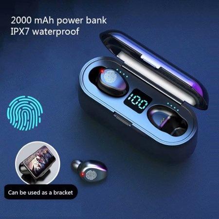 H & A F9 TWS Wireless Smart Touch Control Earpieces Bluetooth 5.0 Ear Wireless Buds Earphones Earbuds 2000mAh Powerbank