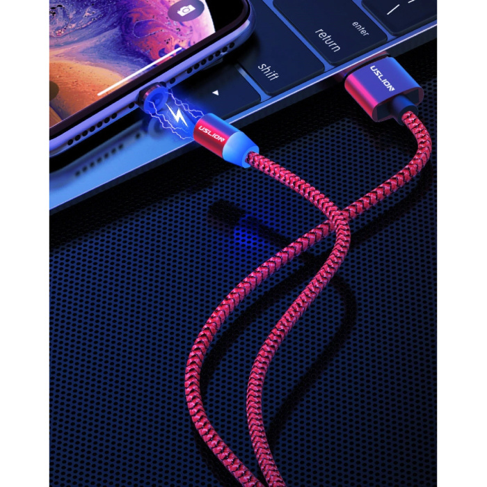 USLION USB-C Magnetic Charging Cable 1 Meter Type C - Braided Nylon Charger Data Cable Android Red