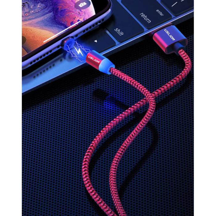USLION Câble de charge magnétique USB-C 2 mètres de type C - Câble de données de chargeur en nylon tressé Android Gold