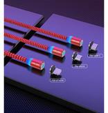 USLION Câble de charge magnétique micro-USB 2 mètres - Câble de données de chargeur en nylon tressé Android rouge