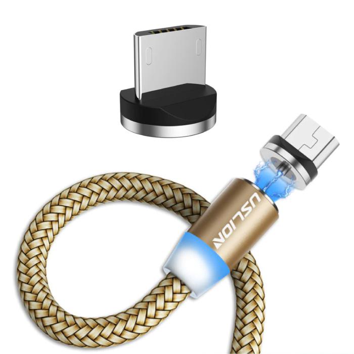 Micro-USB Magnetische Oplaadkabel 2 Meter - Gevlochten Nylon Oplader Data Kabel Android Goud
