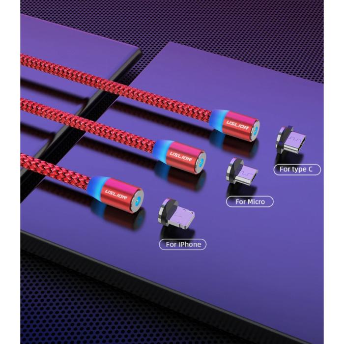 USLION Câble de charge magnétique iPhone Lightning 1 mètre - Câble de données de chargeur en nylon tressé Android noir - Copie - Copie