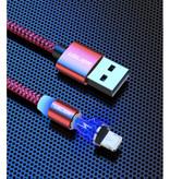 USLION Câble de charge magnétique iPhone Lightning 2 mètres - Câble de données de chargeur en nylon tressé Android noir - Copie - Copie