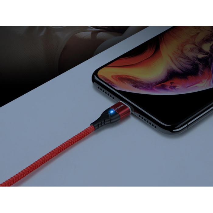 FLOVEME Câble de charge magnétique USB-C 1 mètre de type C - Câble de données de chargeur en nylon tressé Android rouge