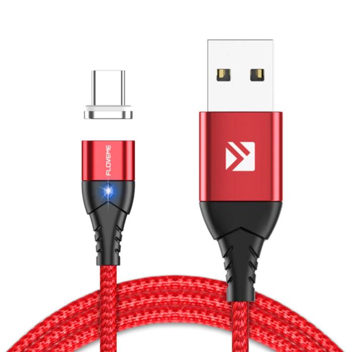Câble de charge magnétique USB-C 1 mètre de type C - Câble de données de chargeur en nylon tressé Android rouge