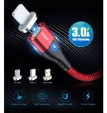 FLOVEME Câble de charge magnétique USB-C 1 mètre de type C - Câble de données de chargeur en nylon tressé Android Argent