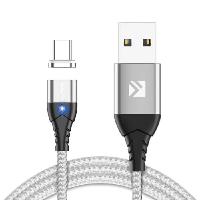 USB-C Magnetische Oplaadkabel 2 Meter Type C - Gevlochten Nylon Oplader Data Kabel Android Zilver