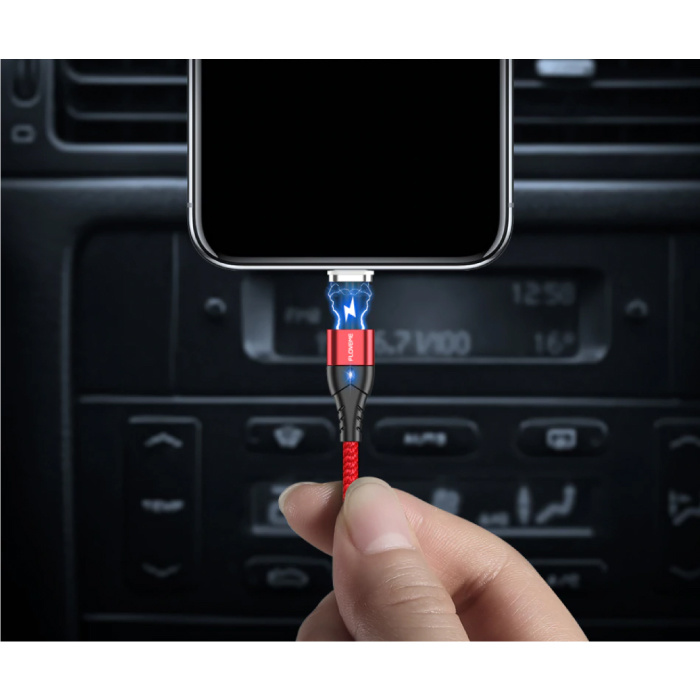 FLOVEME Câble de charge magnétique micro-USB 2 mètres - Câble de données de chargeur en nylon tressé Android rouge
