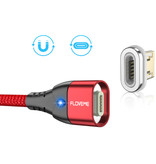 FLOVEME Câble de charge magnétique iPhone Lightning 2 mètres - Câble de données de chargeur en nylon tressé Android noir