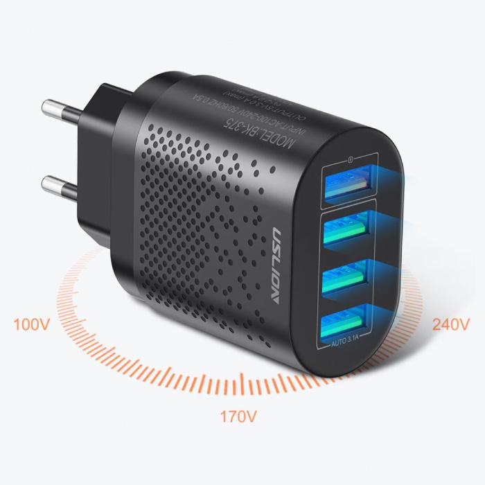 USLION Chargeur de prise USB Quad 4x ports - Chargeur mural Quick Charge 3.0 Chargeur mural Adaptateur de chargeur secteur blanc