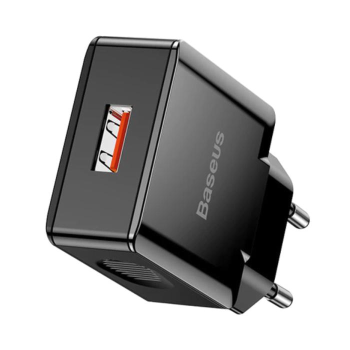 Fast Charge USB Stekkerlader - Quick Charge 3.0 Muur Oplader Wallcharger AC Thuislader Adapter Zwart