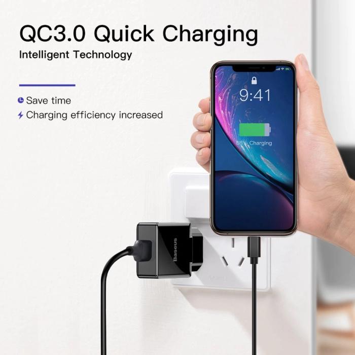 Baseus Fast Charge USB Stekkerlader - Quick Charge 3.0 Muur Oplader Wallcharger AC Thuislader Adapter Zwart