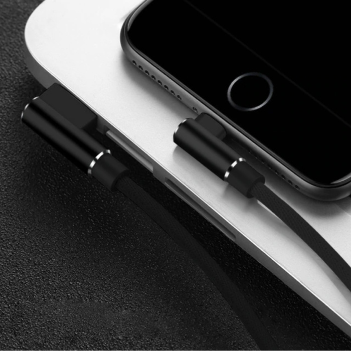 iPhone Lightning Charging Cable 90 ° - 2 Meter - Braided Nylon Charger Data Cable Android Black
