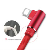 Nohon Câble de charge iPhone Lightning 90 ° - 1 mètre - Câble de données pour chargeur en nylon tressé Android Rouge