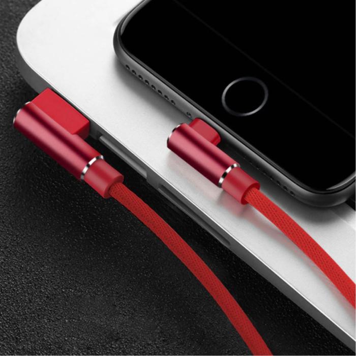Câble de charge iPhone Lightning 90 ° - 3 mètres - Câble de données de chargeur en nylon tressé Android rouge