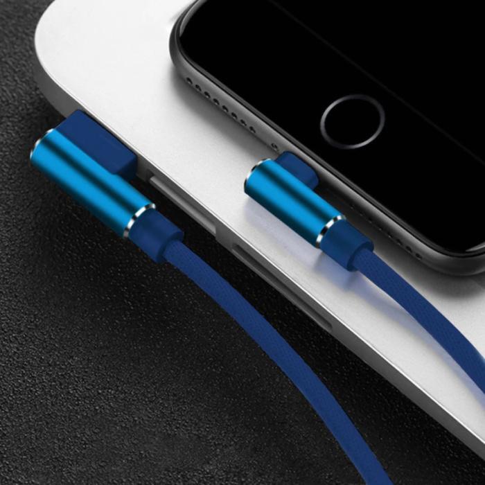 Câble de charge iPhone Lightning 90 ° - 3 mètres - Câble de données de chargeur en nylon tressé Android bleu