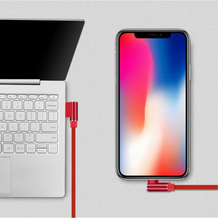 Nohon Câble de charge iPhone Lightning 90 ° - 2 mètres - Câble de données pour chargeur en nylon tressé Android Gris