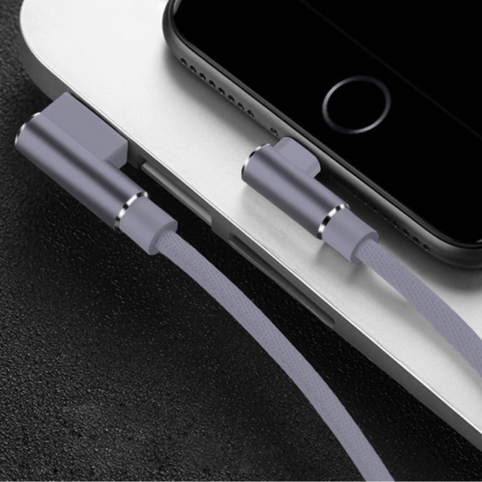Câble de charge iPhone Lightning 90 ° - 2 mètres - Câble de données pour chargeur en nylon tressé Android Gris