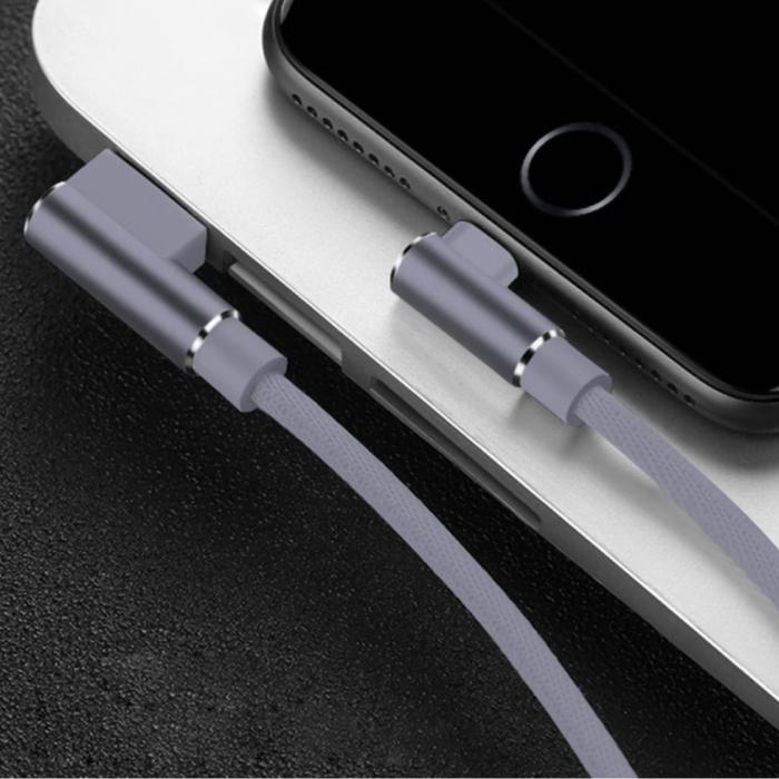 iPhone Lightning Oplaadkabel 90° - 2 Meter - Gevlochten Nylon Oplader Data Kabel Android Grijs