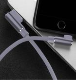 Nohon Câble de charge iPhone Lightning 90 ° - 1 mètre - Câble de données pour chargeur en nylon tressé Android Gris