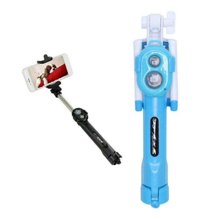 Selfie Stick Tripod met Bluetooth - Draadloos Smartphone Vlog Statief en Driepoot Selfiestick Blauw