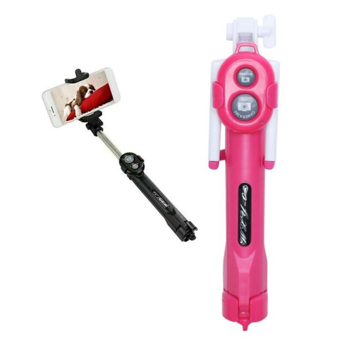 Selfie Stick Tripod met Bluetooth - Draadloos Smartphone Vlog Statief en Driepoot Selfiestick Roze