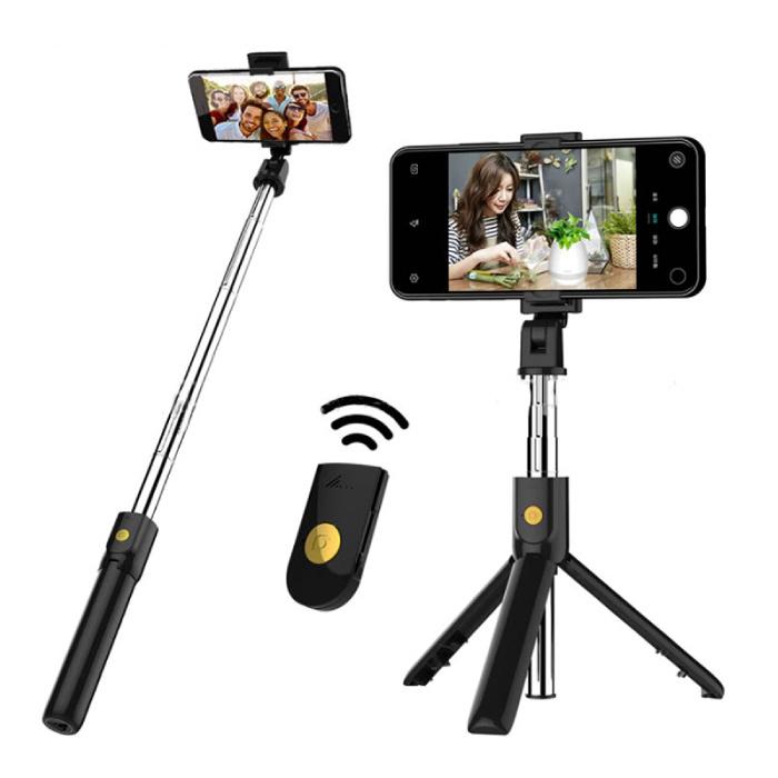 Selfie Stick Tripod met Bluetooth - Draadloos Smartphone Vlog Statief en Driepoot Selfiestick Zwart