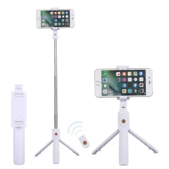 Selfie Stick Tripod met Bluetooth - Draadloos Smartphone Vlog Statief en Driepoot Selfiestick Wit