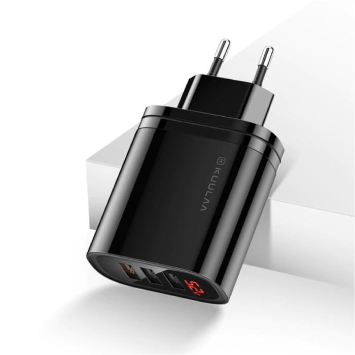 Chargeur de prise USB - Chargeur mural Quick Charge 3.0 Chargeur mural Adaptateur de chargeur secteur CA Noir