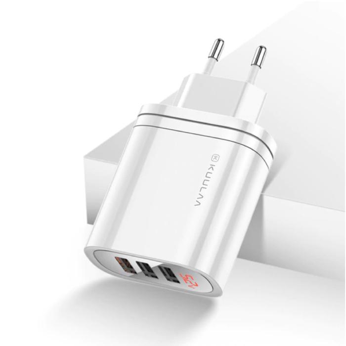 Chargeur de prise USB - Chargeur mural Quick Charge 3.0 Chargeur mural Adaptateur de chargeur secteur AC Blanc