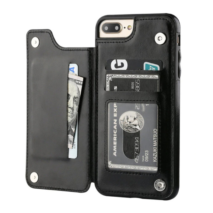 Retro iPhone 7 Leren Flip Case Portefeuille - Wallet Cover Cas Hoesje Zwart