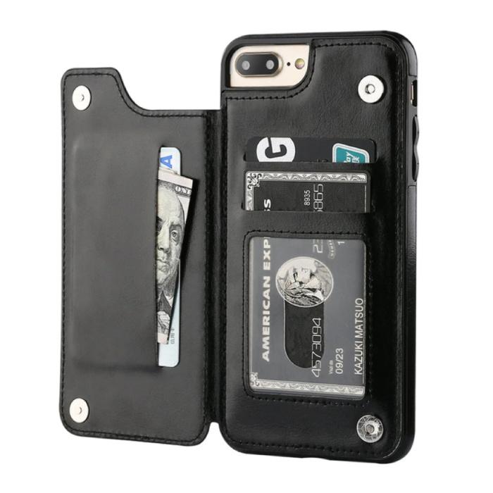 Retro iPhone 12 Leather Flip Case Wallet - Wallet Cover Cas Case Black