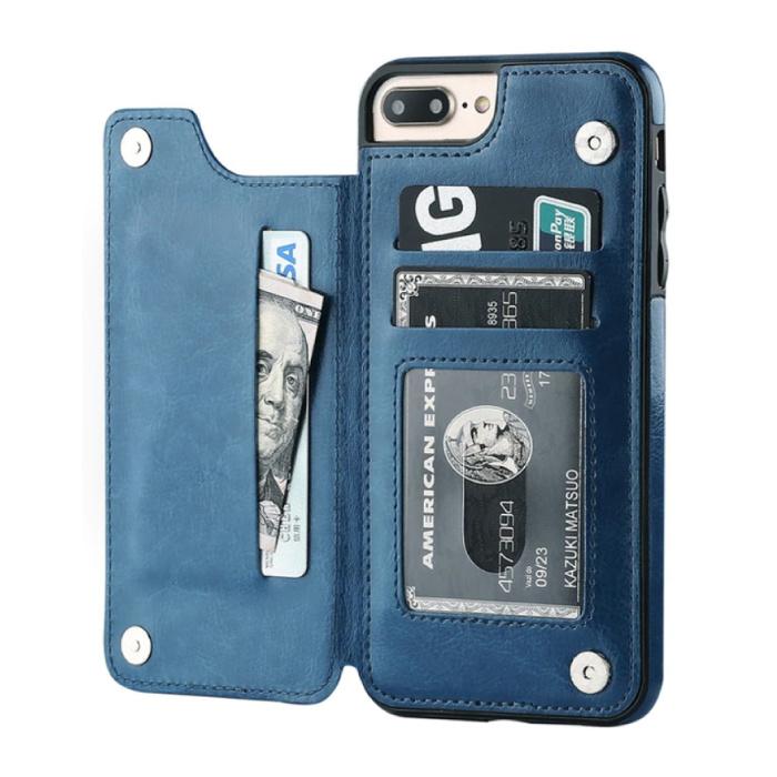 Retro iPhone XS Leather Flip Case Wallet - Wallet Cover Cas Case Blue
