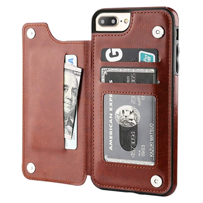 Retro iPhone X Leather Flip Case Wallet - Wallet Cover Cas Case Brown