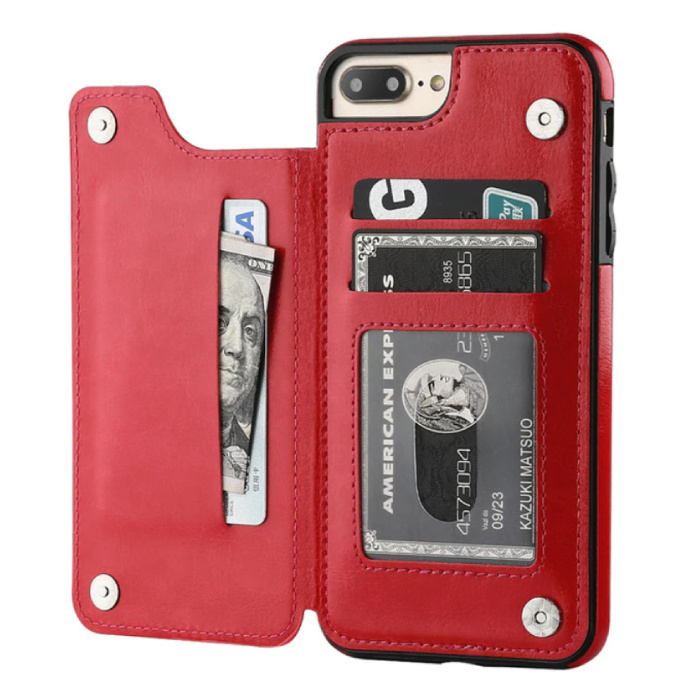 Retro iPhone 7 Leather Flip Case Wallet - Wallet Cover Cas Case Red