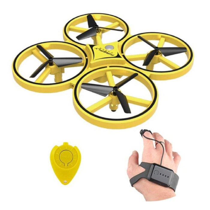 Drone ZF04 avec commande manuelle - Mini jouet quadricoptère de poche RC jaune