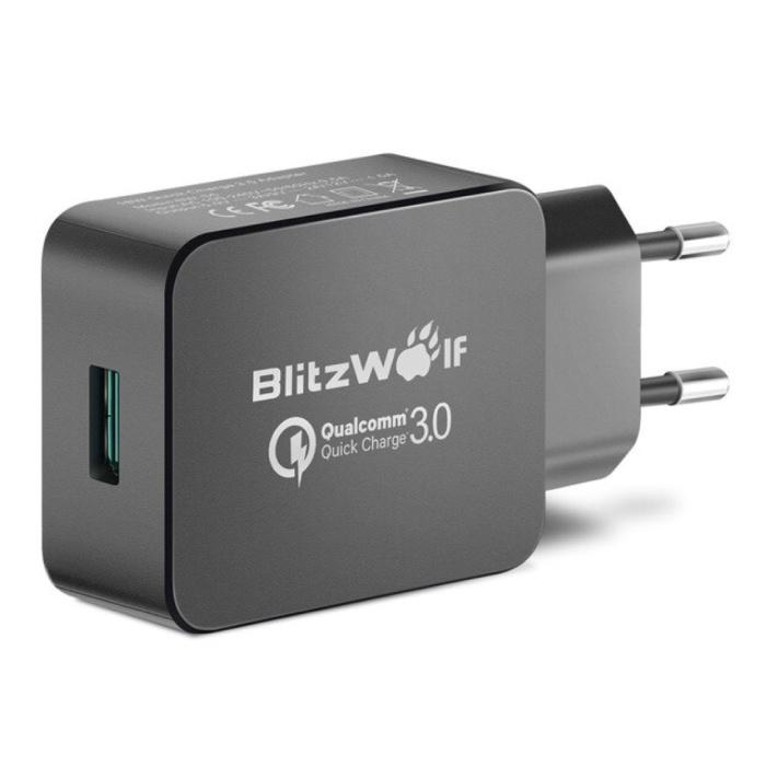Schnellladung 18W USB-Stecker-Ladegerät - Schnellladung 3.0 Wandladegerät Wandladegerät AC Home-Ladegerät Adapter Schwarz