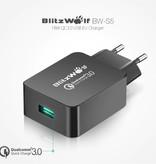 Blitzwolf Fast Charge 18W USB Stekkerlader - Quick Charge 3.0 Muur Oplader Wallcharger AC Thuislader Adapter Zwart