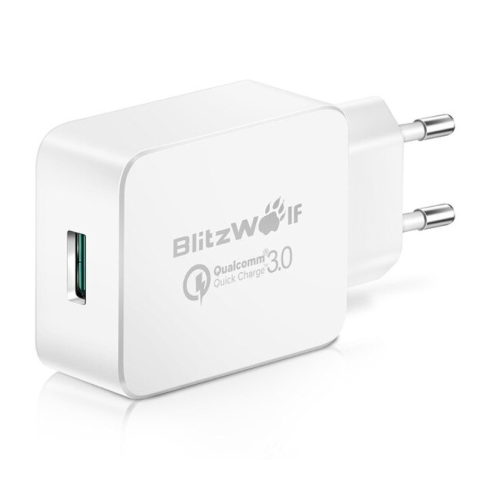 Blitzwolf Fast Charge 18W USB Stekkerlader - Quick Charge 3.0 Muur Oplader Wallcharger AC Thuislader Adapter Wit